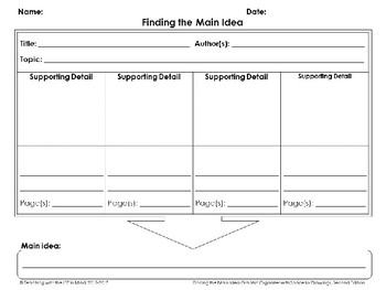Finding the Main Idea Graphic Organizer with Space for Drawings, Second Edition