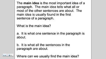 Finding the Main Idea Smartboard Lesson (EDI)