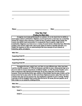 Finding the Main Idea Worksheet
