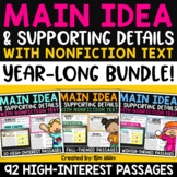 Main Idea and Supporting Details - Year Long Bundle - Fall Passages Included