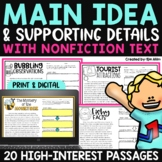Main Idea & Supporting Details Print and Digital Distance Learning
