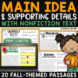Finding the Main Idea with Supporting Details - Fall Passages