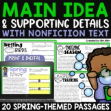 Main Idea and Supporting Details - Spring Passages | Independent Work Packet
