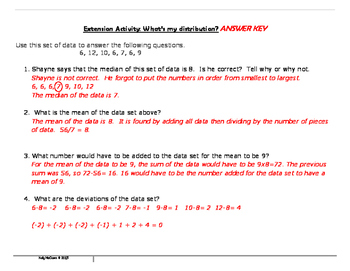 Finding the Mean & Deviations of Data Sets