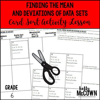 Finding the Mean & Deviations of Data Sets Card Sort Activity Lesson