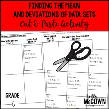 Finding the Mean & Deviations of Data Sets Cut & Paste Activity