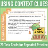 Context Clue Task Cards & Graphic Organizer, Group Work, Vocabulary Assessment