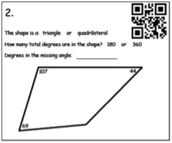 Finding the Missing Angle (Triangles and Quadrilaterals) QR Codes
