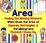 Finding the Missing Measurement Given Area of Squares Rect