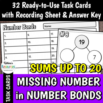 Finding the Missing Number in Number Bonds within 20 Task Cards