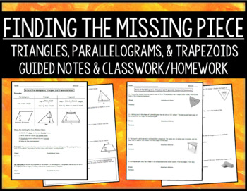 Finding the Missing Piece with Area of Parallelograms, Triangles, & Trapezoids