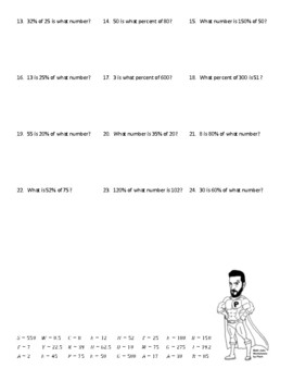 Finding the Percent, Part, or Whole Joke Worksheet #2 with Answer Key