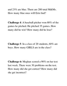 """Finding the Percent of a Number"" Challenge Questions"