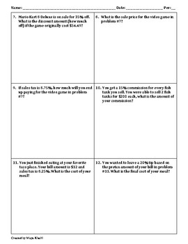 Finding the Percent of a Number Worksheet