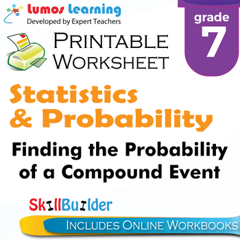 Finding the Probability of a Compound Event Printable Worksheet, Grade 7