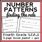 Finding the Rule Lesson, 4th Grade Number Patterns Lesson Packet (4.OA.5)