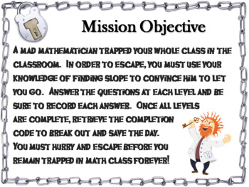 Finding the Slope Game: Algebra Escape Room Math