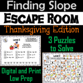 Finding the Slope Game: Escape Room Thanksgiving Math Activity