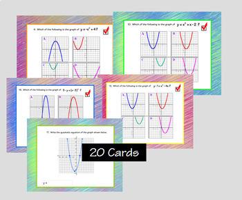 Graphs Of Quadratics Digital Task Cards with GOOGLE Slides™