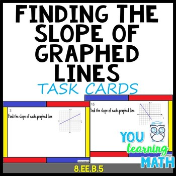 Finding the Slope of Graphed Lines: Task Cards - 22 Problems