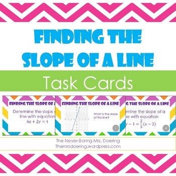 Finding the Slope of a Line Task Cards