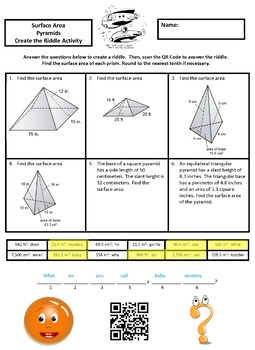 Finding the Surface Area of Pyramids Create the Riddle Activity