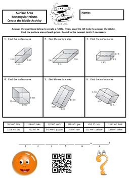 Finding the Surface Area of Rectangular Prisms Create the Riddle Activity