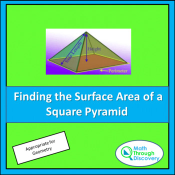 Geometry:  Finding the Surface Area of a Square Pyramid