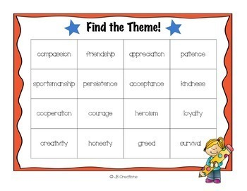 Finding the Theme Bingo game (3rd-5th grade)
