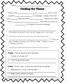 Learning Take Out Task Cards:  Finding the Theme