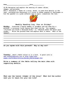 Finding the Theme of idioms, proverbs, adages Reproducible Packet and Assessment