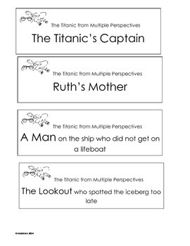 Finding the Titanic Close Reading and Writing Prompt Multiple Perspectives