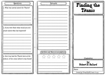Finding the Titanic Comprehension Foldable