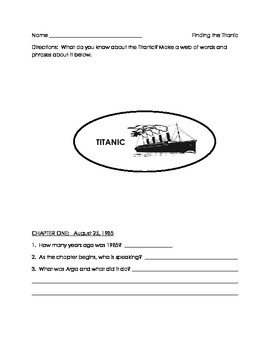 Finding the Titanic- chapter book comprehension packet