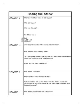 Finding the Titanic chapter questions