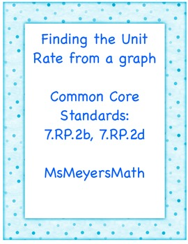 Finding the Unit Rate from a Graph 7.RP.2b, 7.RP.2d