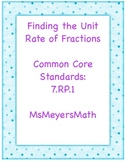 Finding the Unit Rate of Fractions Activity 7.RP.1