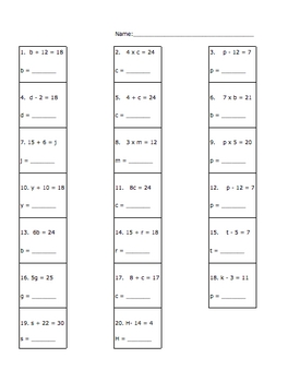 Finding the Value of the Variable Worksheet