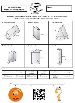 Finding the Volume of Prisms Create the Riddle Activity