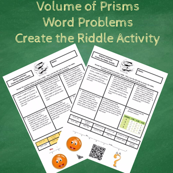 Finding the Volume of Prisms Word Problems Create the Riddle Activity