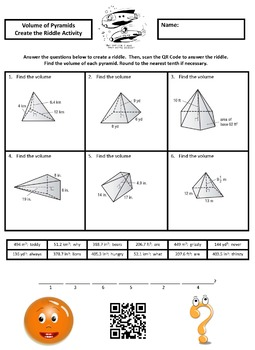 Finding the Volume of Pyramids Create the Riddle Activity