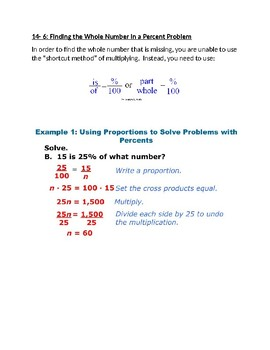 Finding the Whole Number of a Percent