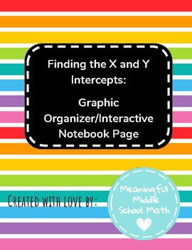 Finding the X and Y Intercepts Graphic Organizer/Interactive Notebook