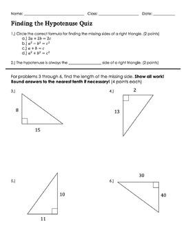 Finding the hypotenuse Quiz