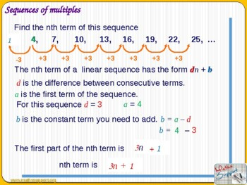 Finding the nth term of a linear sequence