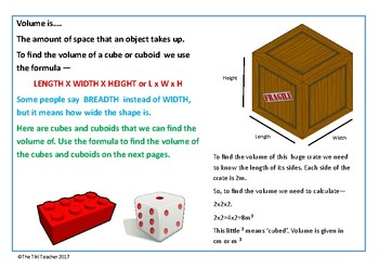 Finding the volume of cubes and cuboids in m and cm using formula