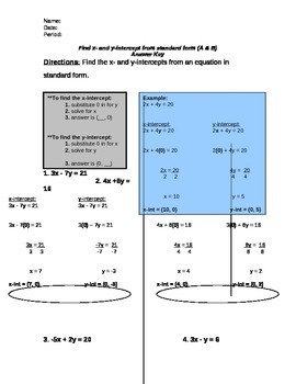 Finding x- and y-intercepts from standard form