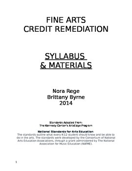Fine Arts 9-12 Credit Remediation Project List