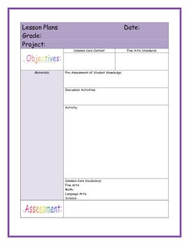 Fine Arts and Common Core Lessonplan Template