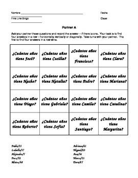 Fine Line Bingo - Ages in Spanish
